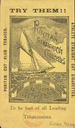 Advert for Puritan Straight Cut Cigarettes, reverse side